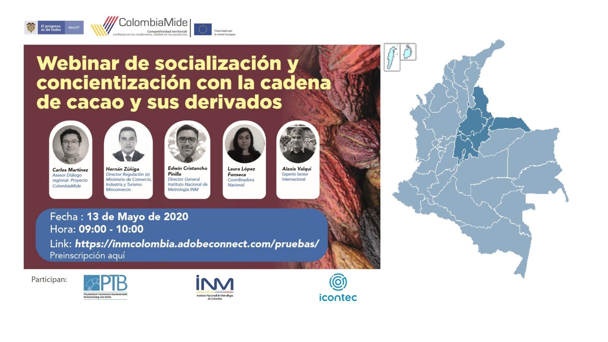 ColombiaMide. Socialización de las necesidades de calidad, focalizadas en metrología, con actores de la cadena de cacao y sus derivados